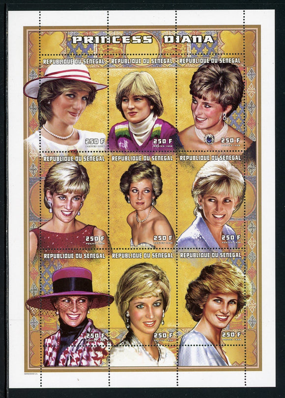 Senegal Scott #1304 MNH SHEET of 9 Princess Diana 250 fr CV$9+ ISH-1
