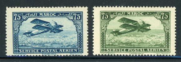 French Morocco MH: Scott #C4-C5 75c 1st Series Air Post CV$80+