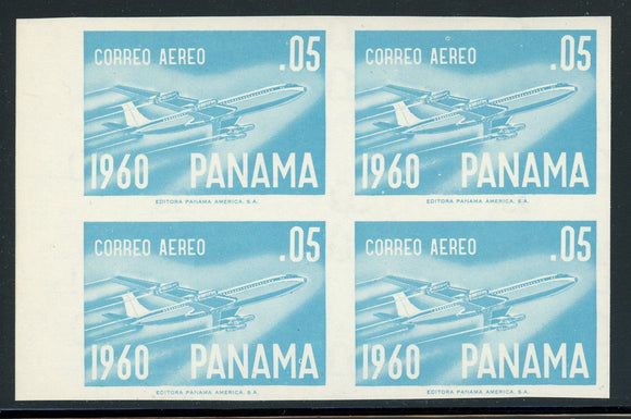 PANAMA MNH Specialized: Scott #C240 5c Blue B-707 Jet (1960) IMPERF Block $$$