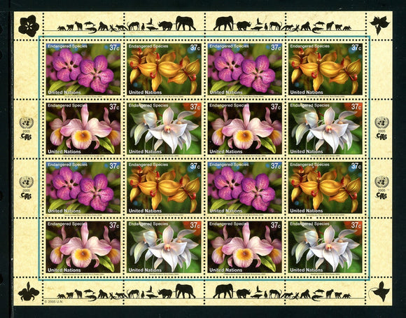 UN-New York Scott #879a MNH SHEET of 4 BLOCKS Endangered Species CV$18+ TH-1