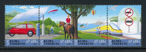 UN-Vienna Scott #300a MNH STRIP of 4 Climate Change CV$5+ TH-1