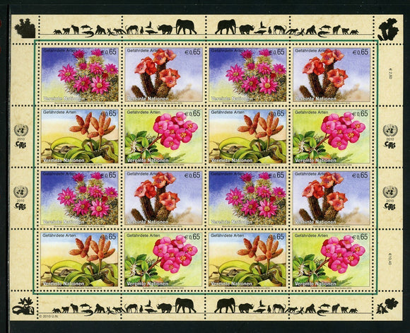 UN-Vienna Scott #468a MNH SHEET of 4 BLOCKS Endangered Species CV$36+ TH-1