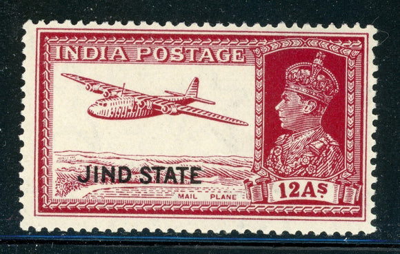 INDIA JIND MNH: Scott #144 12a Carmine Lake KGVI Airplane CV$3++