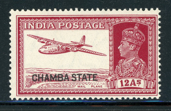 INDIA CHAMBA MNH: Scott #81 12a Carmine Lake KGVI Airplane CV$22+