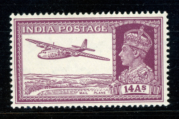 INDIA MNH: Scott #161A 14a Rose Violet KGVI Airplane CV$16++