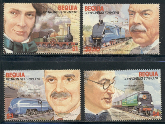 SVG Bequia Scott #237-240 MNH Railway Engines and Locomotives CV$3+