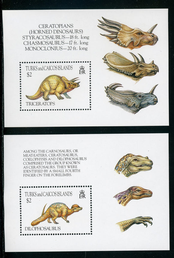 Turks&Caicos Islands Scott #1043-1044 MNH S/S Dinosaurs CV$14+ TH-1
