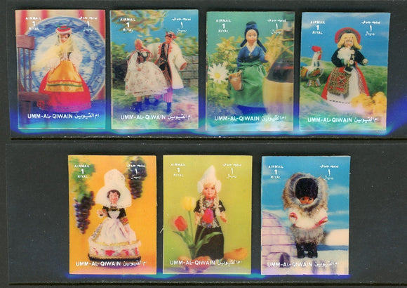 Umm al-Qiwain OS #11 7 VARIETIES 3-D Traditional Costumes $$ TH-1