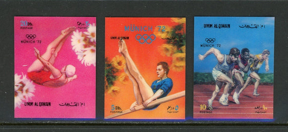 Umm al-Qiwain OS #13 3 VARIETIES 3-D Munich 1972 Olympics $$ TH-1
