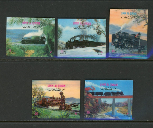 Umm al-Qiwain OS #15 5 VARIETIES 3-D Trains $$ TH-1