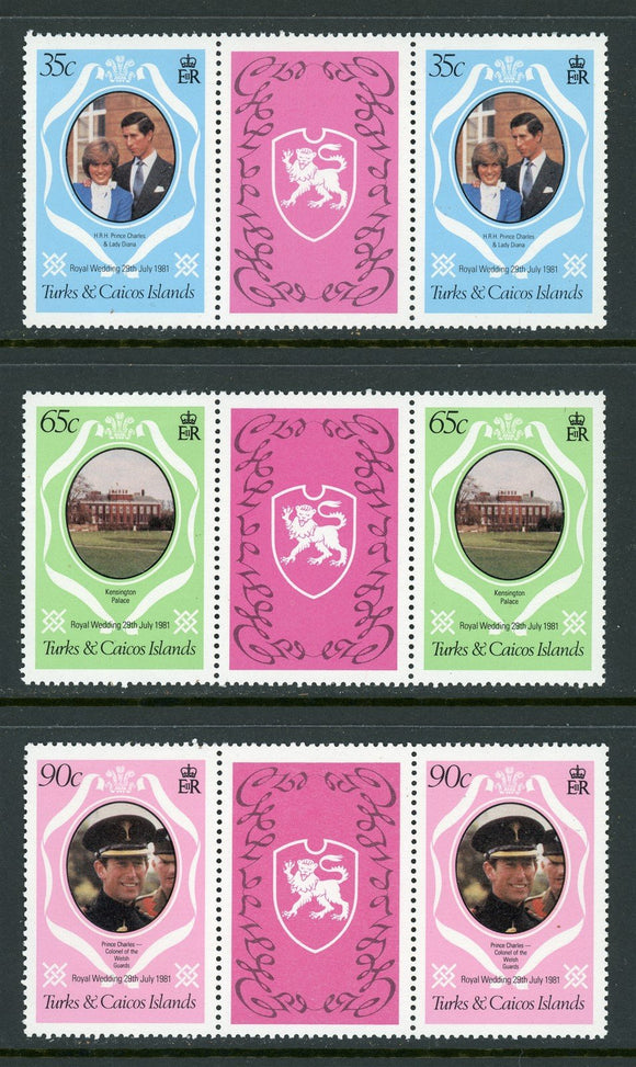 Turks & Caicos Islands Scott #486-488 MNH GUTTER PAIRS Charles Diana Wedding $$