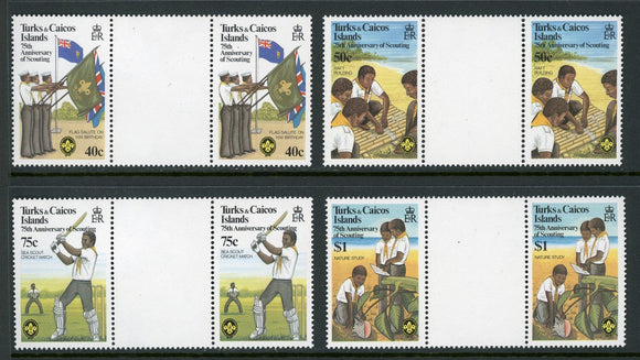 Turks & Caicos Islands Scott #512-515 MNH GUTTER PAIRS Scouting Year $$