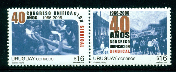 Uruguay Scott #2166 MNH PAIR Syndical Unification Congress CV$5+