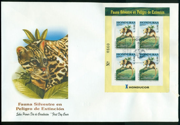Honduras note after Scott #C1158 FIRST DAY COVER S/S Endangered Fauna $$