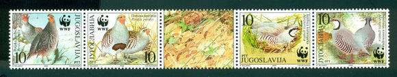 Yugoslavia Scott #2479 MNH WWF Birds Fauna STRIP CV$12+