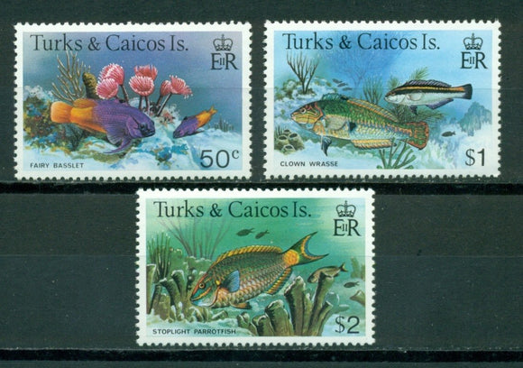 Turks & Caicos Islands Scott #371-373 MNH Fish Marine Life FAUNA CV$5+