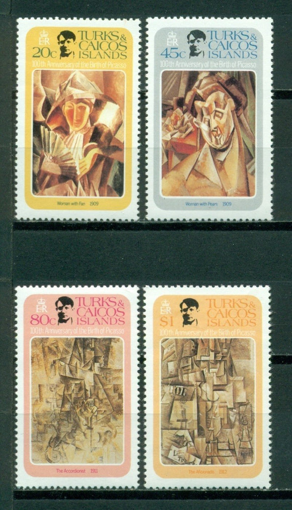 Turks & Caicos Islands Scott #481-484 MNH Pablo Picasso Birth Centenary CV$2+
