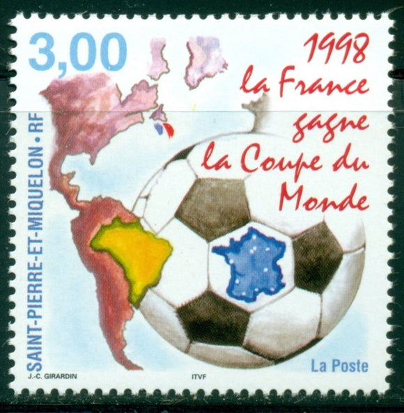 St. Pierre & Miquelon Scott #673 MNH World Cup 1998 France Soccer Football $$
