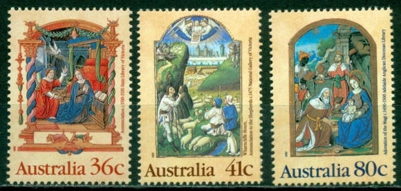 Australia Scott #1159-1161 MNH Christmas 1989 Paintings Art CV$3+