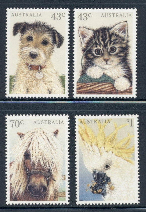Australia Scott #1222-1225 MNH Pets Fauna Dog Cat Horse Bird CV$6+