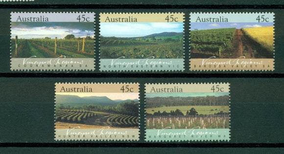 Australia Scott #1262-1266 MNH Vineyard Regions Flora CV$4+