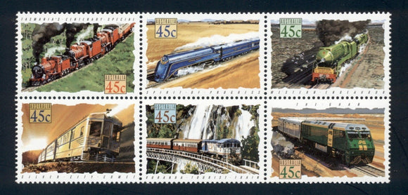 Australia Scott #1329a MNH BLOCK Trains CV$7+