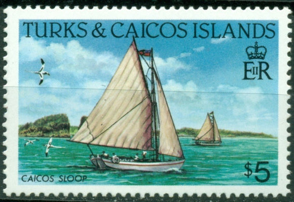 Turks & Caicos Islands Scott #592a MNH Caicos Sloop PERF 14 CV$5+