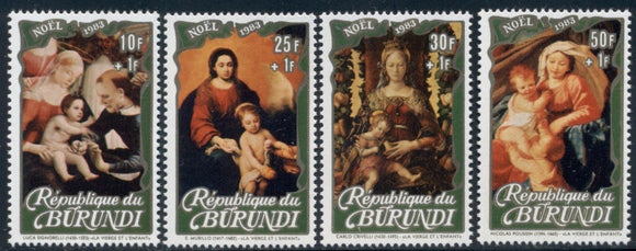 Burundi Scott #B91-B94 MNH Christmas 1983 Paintings Art CV$49+