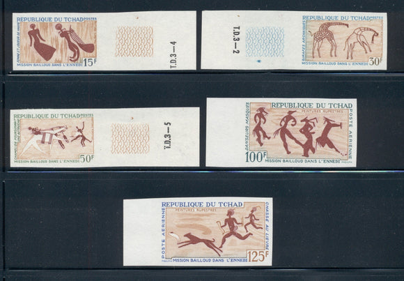 Chad Scott #148//C29 MNH IMPERF Rock Paintings Complete $$