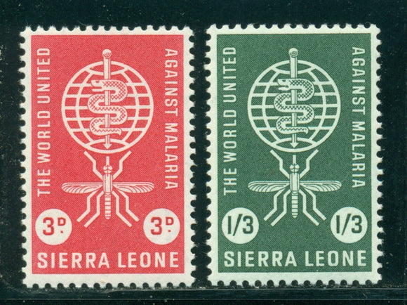 Sierra Leone MNH Scott #225-226 Malaria Eradication WHO OMS $$