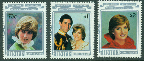 Aitutaki Scott #268-270 MNH Birth of Prince William Charles and Diana CV$4+