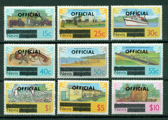 Nevis Scott #O1//O10 MNH OFFICIAL OVPT on Scenes CV$5+