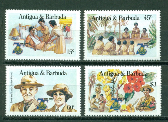 Antigua Scott #881-884 MNH Girl Guides 75th Ann Flowers CV$8+