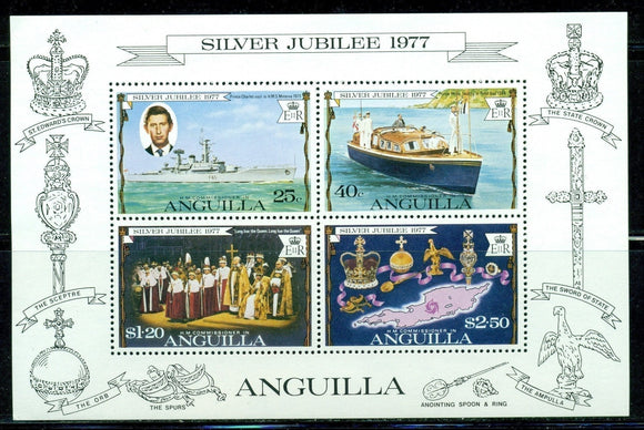 Anguilla Scott #274a MNH S/S Queen Elizabeth II 25th ANN Coronation Map Ship $$