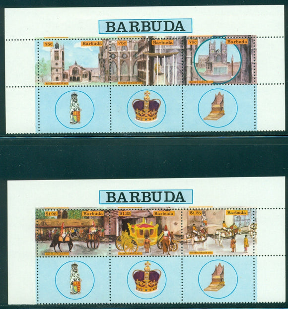 Barbuda Scott #263-264 VAR MNH STRIPS w/LABELS Queen Elizabeth II Coronation $$
