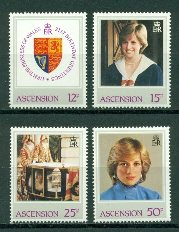 Ascension Scott #313-316 MNH Princess Diana's 21st Birthday $$