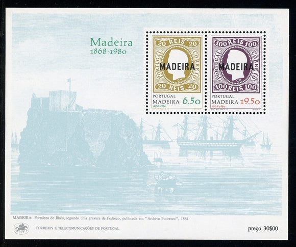 Madeira Scott #67a MNH S/S OVPT Madeira on Portugal CV$3+