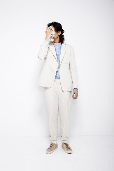SS16 Look 13: Pocket Square / Tie Blazer / Kalamazoo Shirt / Tuck Pant