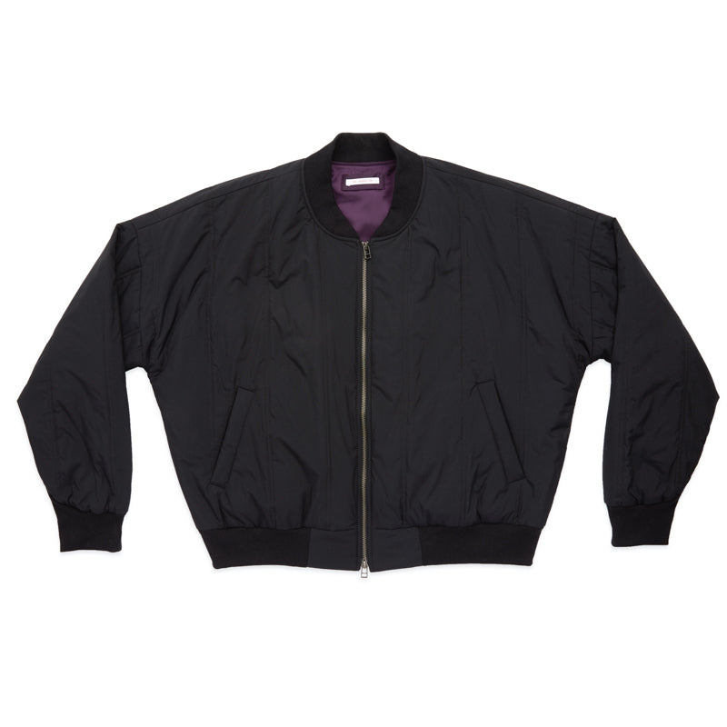Reversible Bomber Jacket - Black Quilted Recycled Nylon WR