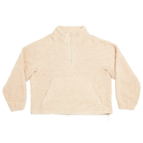 Half Zip Fleece - Beige Wool Pile