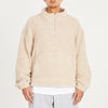 Half Zip Fleece - Beige Wool Pile (Pink Speckle)