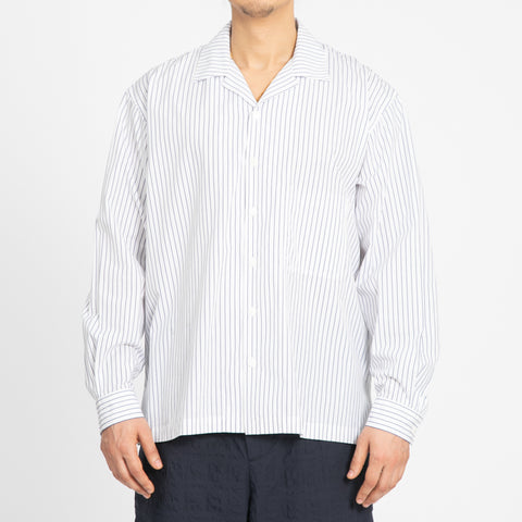 Shore Shirt - White/Blue Pinstripe