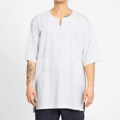 White/Blue Pinstripe Oba Shirt