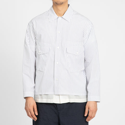 Terra Shirt/Jacket - White/Blue Pinstripe