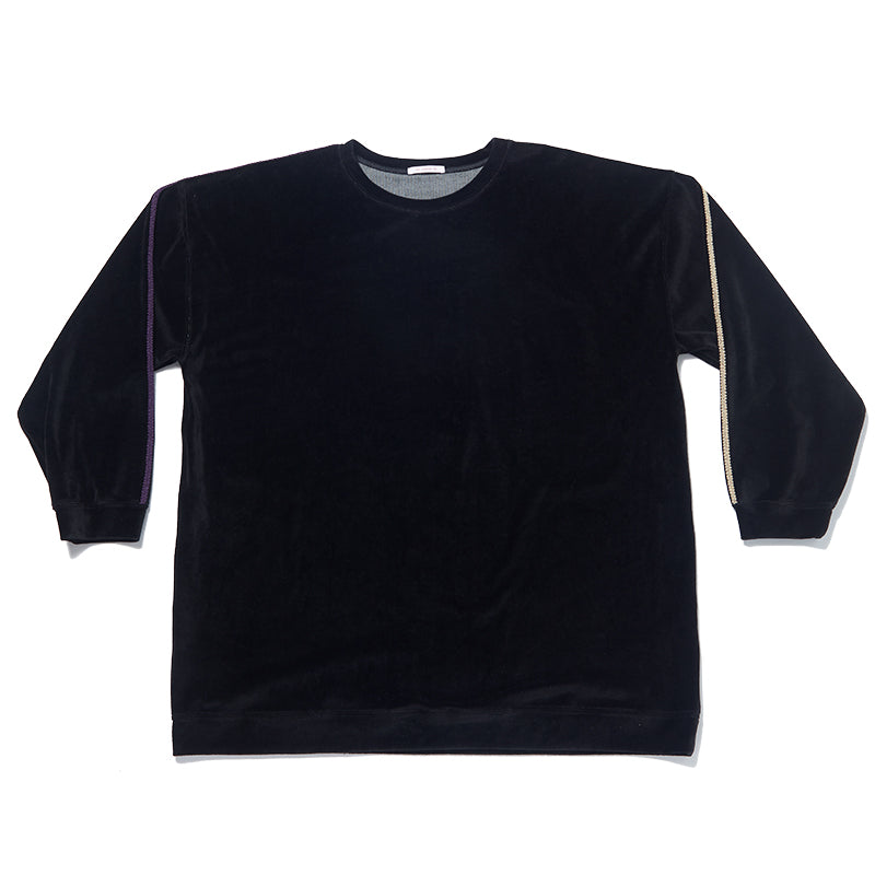 Oversized Velour Crewneck Sweatshirt - Black w/ Braid