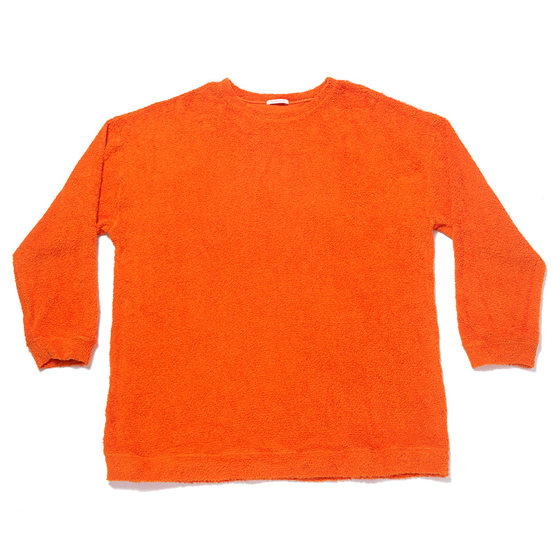 Oversized Reversible Pile Crewneck Sweatshirt - Orange