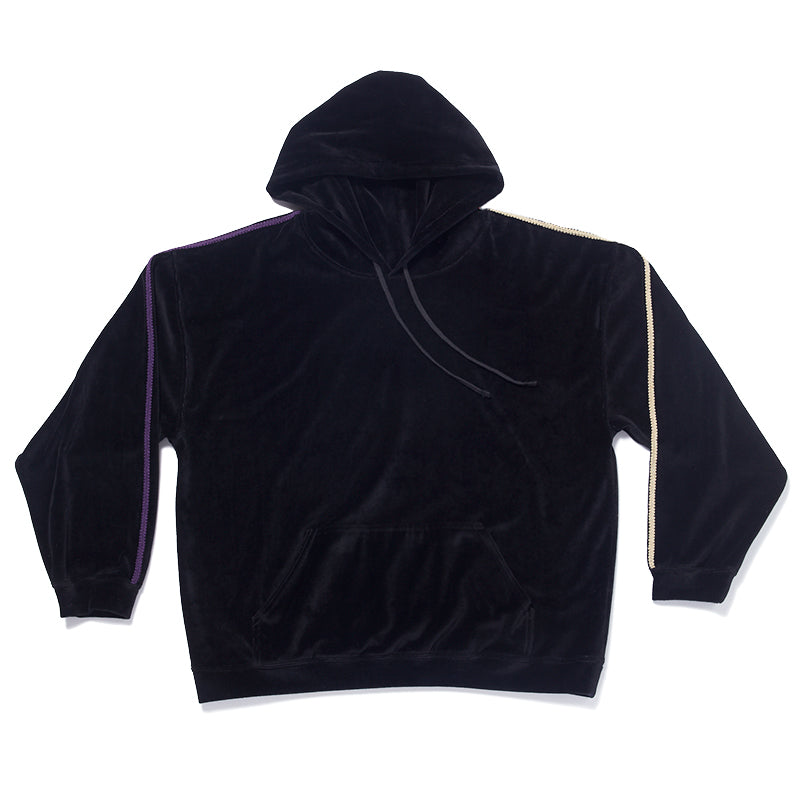 Velour Hoodie - Black w/ Braid