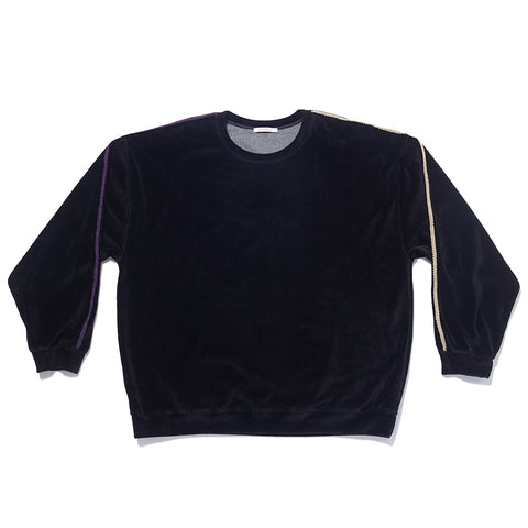 Velour Crewneck Sweatshirt - Black w/ Braid