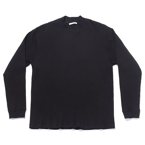 Long Sleeve Ribbed T-Shirt - Black