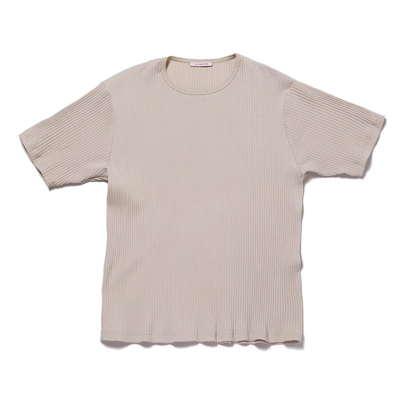 Short Sleeve Ribbed T-Shirt - Beige